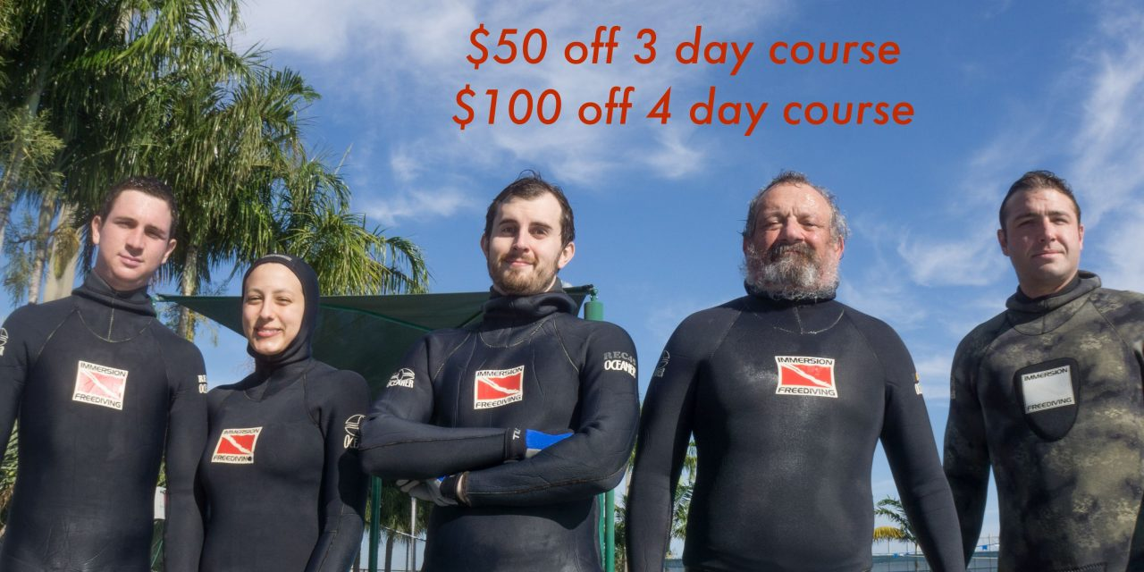December Discount on all 2017 Immersion Freediving courses